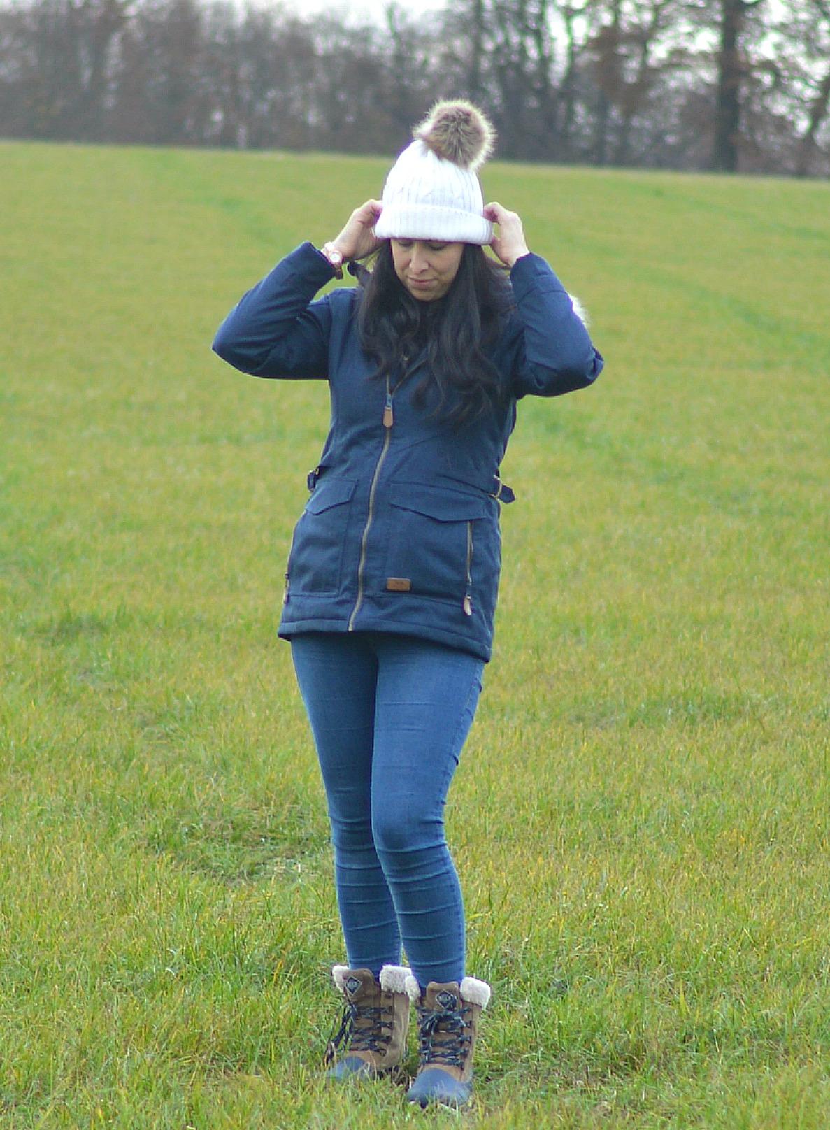pulling on my winter hat