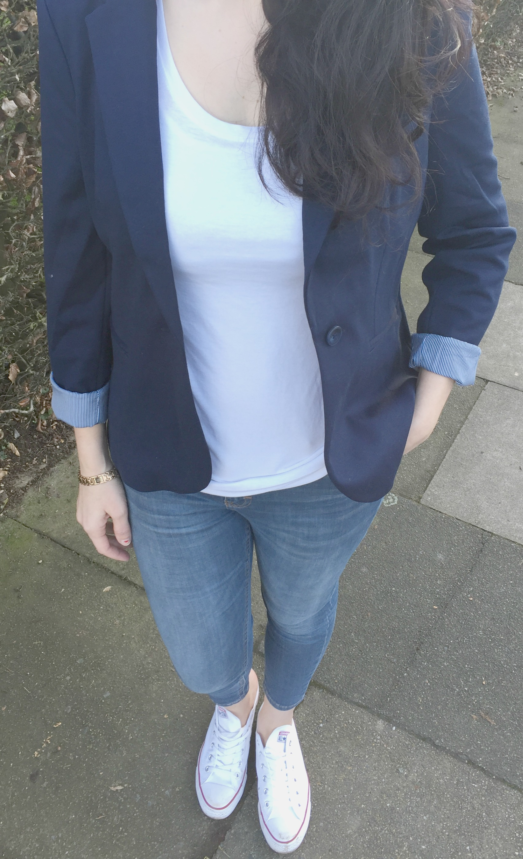 Mama style navy blazer and jeans